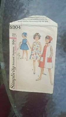 Vintage 1963 Simplicity Sewing Pattern: Child's Dress And Scarf  (Size 6) #5304