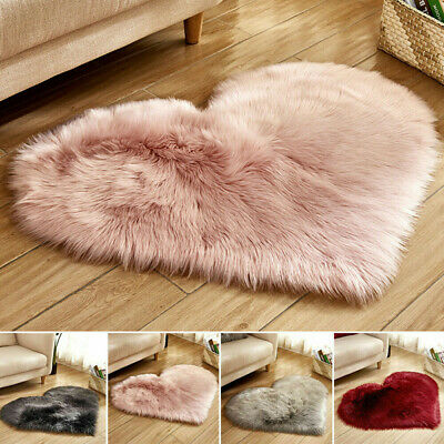 UK Heart Shaped Rug Very Fluffy Soft Shaggy Area Rugs Faux Fur Hairy Mats Carpet