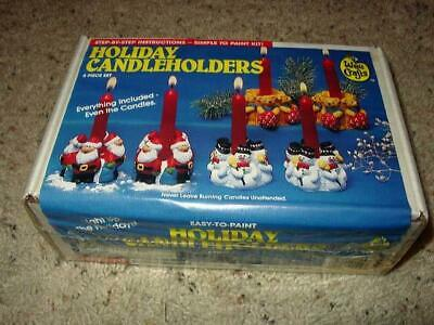 Wee Crafts Kit : HOLIDAY CANDLE HOLDERS - Easy-to-Paint - 6 pcs (SEALED)