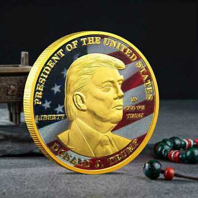 45Th President Donald Trump Gold Plated EAGLE USA Flag Commemorative Coin