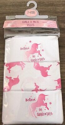 Girls 3 Pack Unicorn Vests Age 7-8 Years Old Unicorn Gift Present Back To School