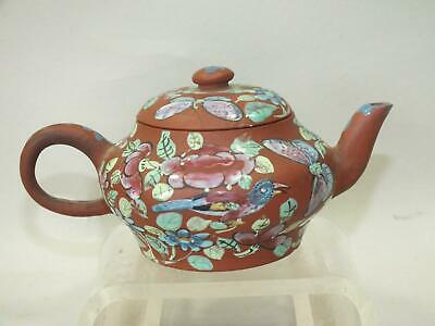 A SMALL ROUND CHINESE YIXING ZISHA RED CLAY ENAMELLED TEA-POT SIGNED 19thC