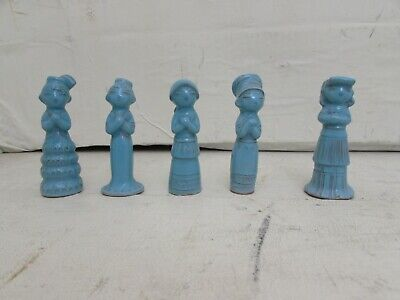 5 Vintage Oriental Turquoise Glazed Pottery Singing Choir Figures