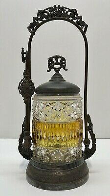 Antq Victorian Wilcox PICKLE CASTOR Amber Glass Ornate Stand Tongs Silverplate