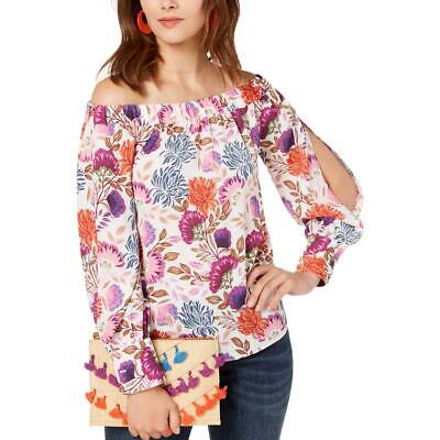 INC Womens Off-The-Shoulder Floral Day to Night Pullover Top Shirt BHFO 4775