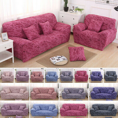 1-4 Seater Elastic Sofa Covers Couch Solid Slipcover Stretch Settee Protector UK