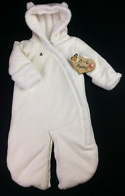 Baby Boy/Girl UNISEX GAP Cream Fleece 2 Way Snowsuit Pramsuit 3-6 Months VGC