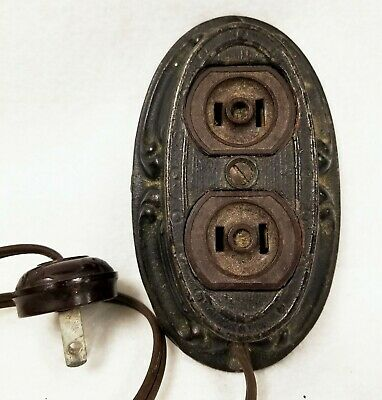 Antique 1940'S Cast Iron Herst Receptacle Extension Outlet Bakelite