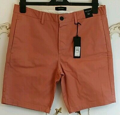 "River Island Men's Slim Fit Terracotta Cargo Chino Shorts Size 32"" BNWT"