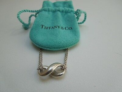 #//Tiffany & Co Sterling Silver Infinity Figure 8 Pendant Necklace Double Chain