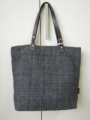 MHL Margaret Howell Harris Tweed Gray Checked Bag with a Brown leather Handle
