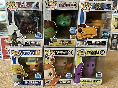 Funko Pop Shop exclusive Lot Of 6.  Werewolf Cancer Toucan With Pop Protectors