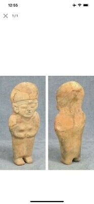 "Pre Columbian Pottery Terracota Mexico Female Priest Figure 10 ""X 3.75"""