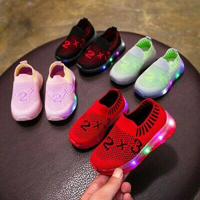 Children Kid Baby Girl Boy Led Light Luminous Sport Socks Sneakers Casual Shoes