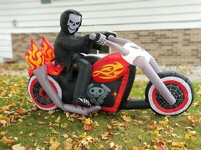 7 Ft Grim Reaper On Chopper Motorcycle Halloween Airblown Inflatable Yard Decor