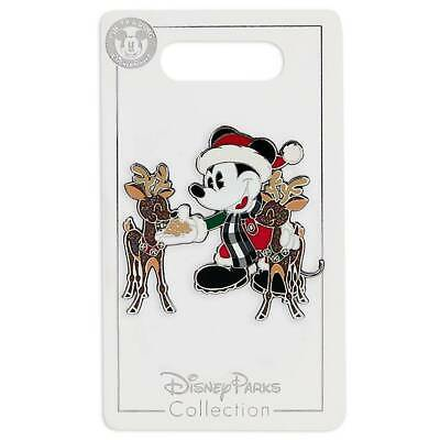 Disney Parks Yuletide Farmhouse Mickey Reindeer Holiday Pin Set New with Card