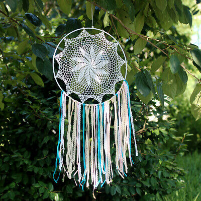 Dream Catcher Handmade Feathers Wall Car Hanging Decor Home Room Ornament White
