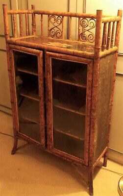Chinese Collectors Antique Bamboo Bookcase Victorian? 4ft x 2.5ft x 1ft