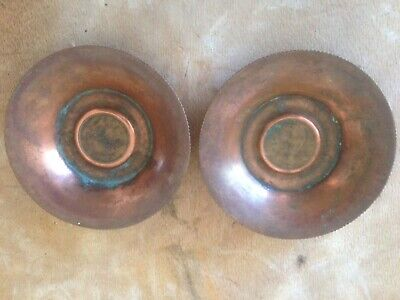 Arts & Crafts Pair Of Copper Penny Dishes