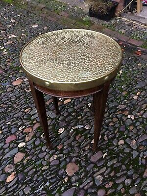 Arts And Crafts Style Pub Table With Brass Top