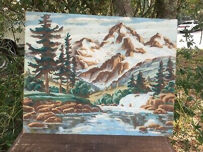 Vintage Rocky Snow Covered Mountains Wilderness PBN Paint By Numbers Painting