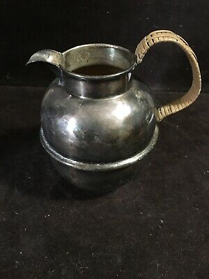 Vintage Reed & Barton Sterling Silver Plated Creamer Pitcher w/Braided Bamboo Ha