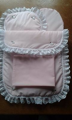 Bedding Quilt Pillow Sheet and Mattress for Silver Cross Pioneer Doll Pram Pink