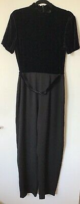 Black Jumpsuit Velvet Belt Vintage Evening Party Victoria Stephens 14 Costume