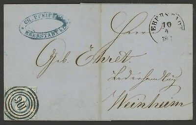 Thurn and Taxis Stamp Germany Scott #48 on April 1861 Cover, Single Franking