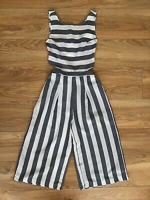 Striped Summer Jumpsuit Costume Back Off Zip Cropped 8 Vintage Boho Shirred