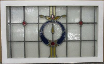 "OLD ENGLISH LEADED STAINED GLASS WINDOW TRANSOM Stunning Wreath 34.25"" x 21"""