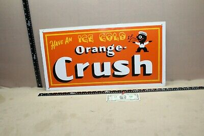 Scarce Vintage Drink Orange Crush Soda Pop 2-Sided Metal Sign Crushy Gas Oil Ih