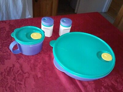 Tupperware Crystal Wave Divided Round Dish, Soup Mug, Salt & Pepper Shakers