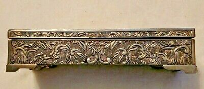 Vintage Godinger Silver Plated Embraced Floral Art Jewelry Box W/Mirror In Lid