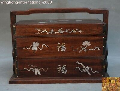 Chinese huanghuali wood inlay shell Eight treasure mandarin duck lotus box boxes