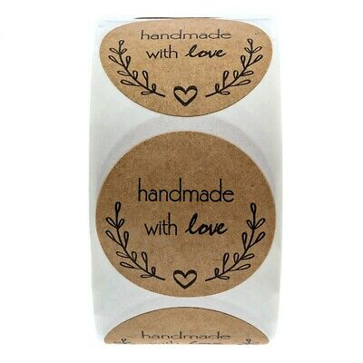 1 Inch Round Natural Kraft Olive Branch Handmade With Love Stickers / 500 L V9D9