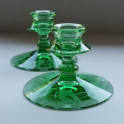 VTG Antique DEPRESSION GLASS Green Etched Floral Daisy PAIR CANDLESTICKS HOLDERS