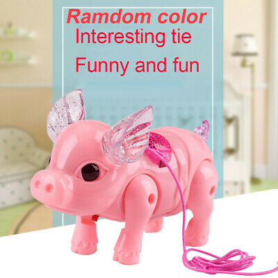 Electric Walking Singing Musical Light Pig Toy Leash Interactive Kids Baby Toy