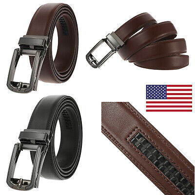 Mens Classic Genuine Leather Ratchet Belt Autonomic Metal Buckle Jeans Waistband