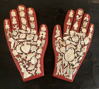 """SET (2) MILAGROS HAND, Wood Hands with Charms, Red 8.5"""" Mexican Folk Art"""