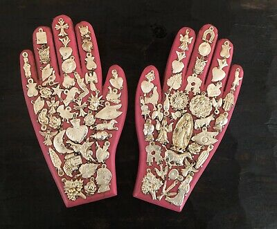 """SET (2) MILAGROS HAND, Wood Hands with Charms, Pink 8.5"""" Mexican Folk Art"""