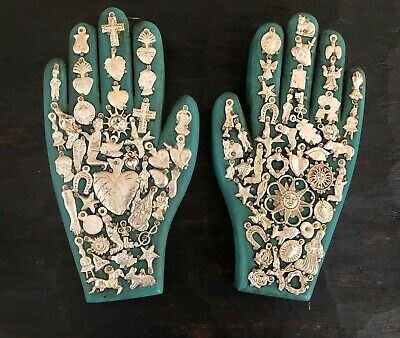 """SET (2) MILAGROS HAND, Wood Hands with Charms, Green 8.5"""" Mexican Folk Art"""