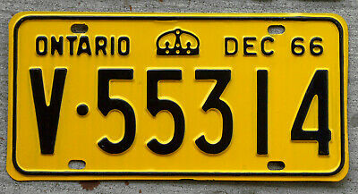 1966 Black on Yellow Ontario License Plate in Pristine Condition
