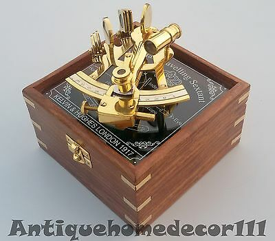 nautical victorian travelling sextant maritime w/ wooden box astrolabe 4 inch