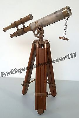Nautical Decorative Antique Brass Telescope With Tripod Stand Antique Finish