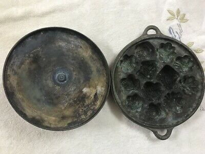 Rare Antique Chinese Solid Brass Cake Mold With Lid 7 lbs Heavy