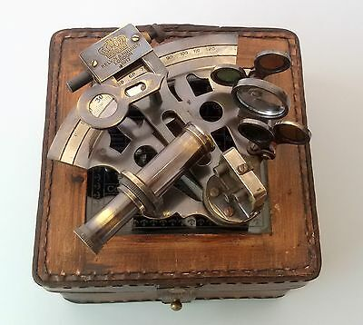 Nautical Sextant Antique vintage Brass Navigation with HandMade Leather Case