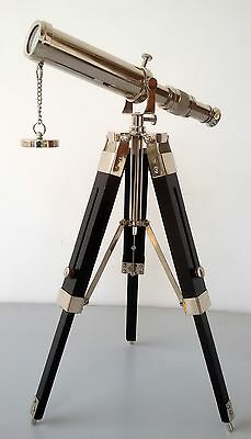 Collectible Nautical Brass Telescope With Desktop Tripod Stand Marine Replica