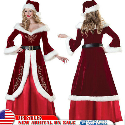 Women's Christmas Costume Mrs Miss Santa Claus Cosplay Outfit Party Fancy Dress