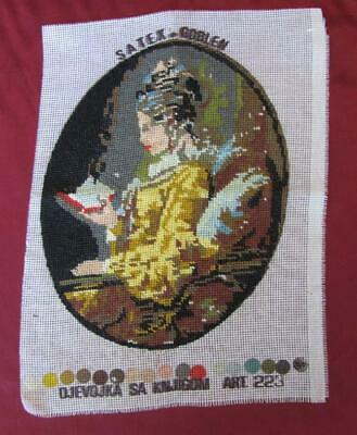 Vintage Hand Embroidered Gobelin Tapestry – Girl With Book